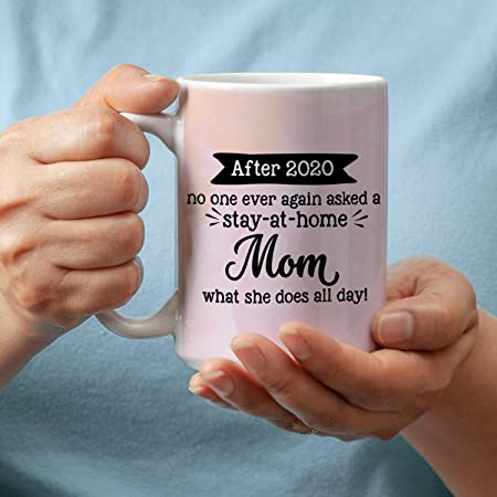 Amazon Com Counterart Social Distancing Humorous 15 Oz Coffee Mug Stay At Home Mom Kitchen Dining