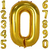 40 Inch Large Number Balloons Gold Mylar Foil Big Number 0 Giant Balloon Birthday Party Decoration