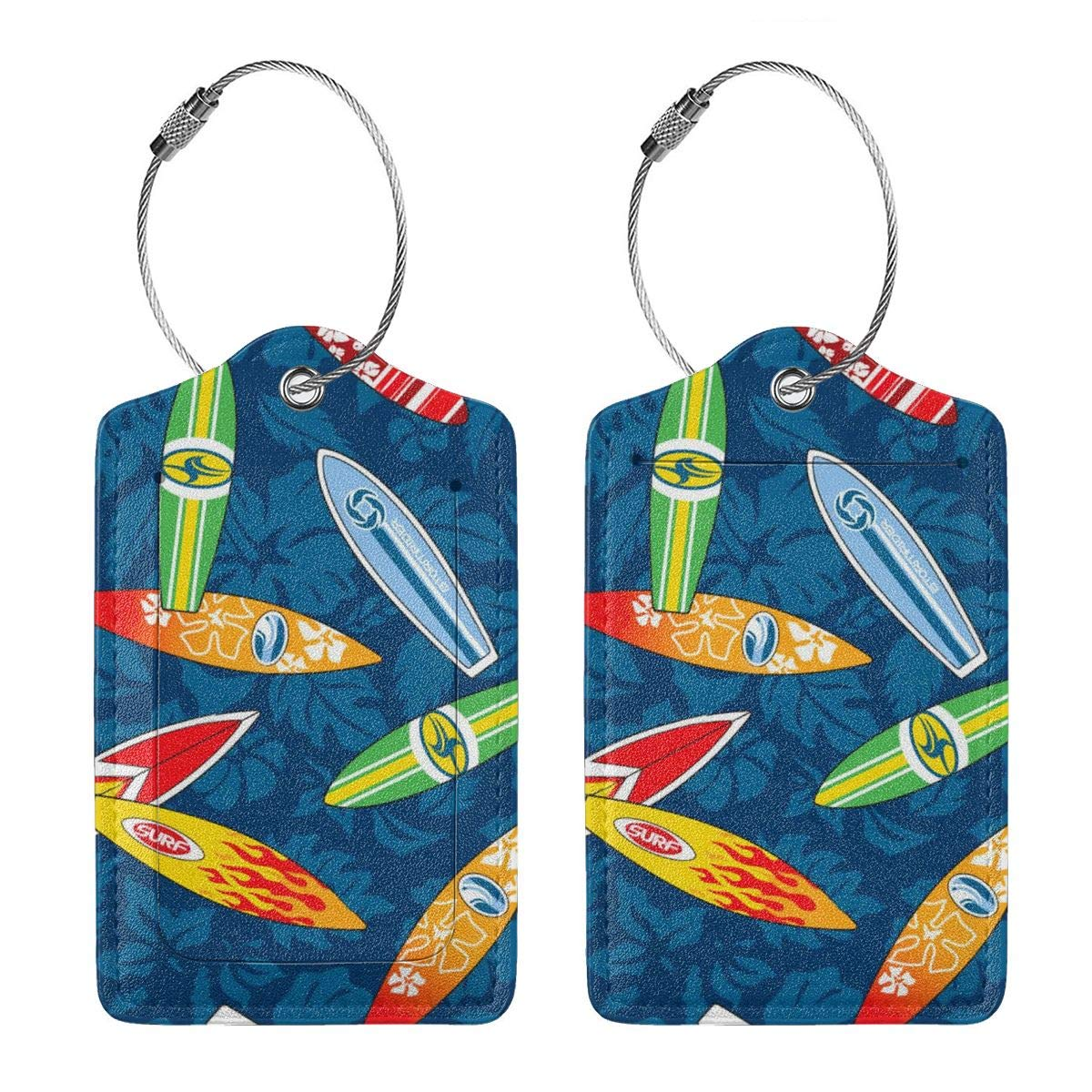 Various Surfboard Leather Luggage Tags Personalized Extra Address Cards With Adjustable Strap