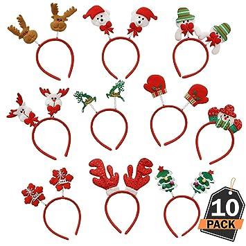 10 Diademas de Navidad–Accesorio deCabello yCabeza con Diseños  Navideños–Favor 936553088f7