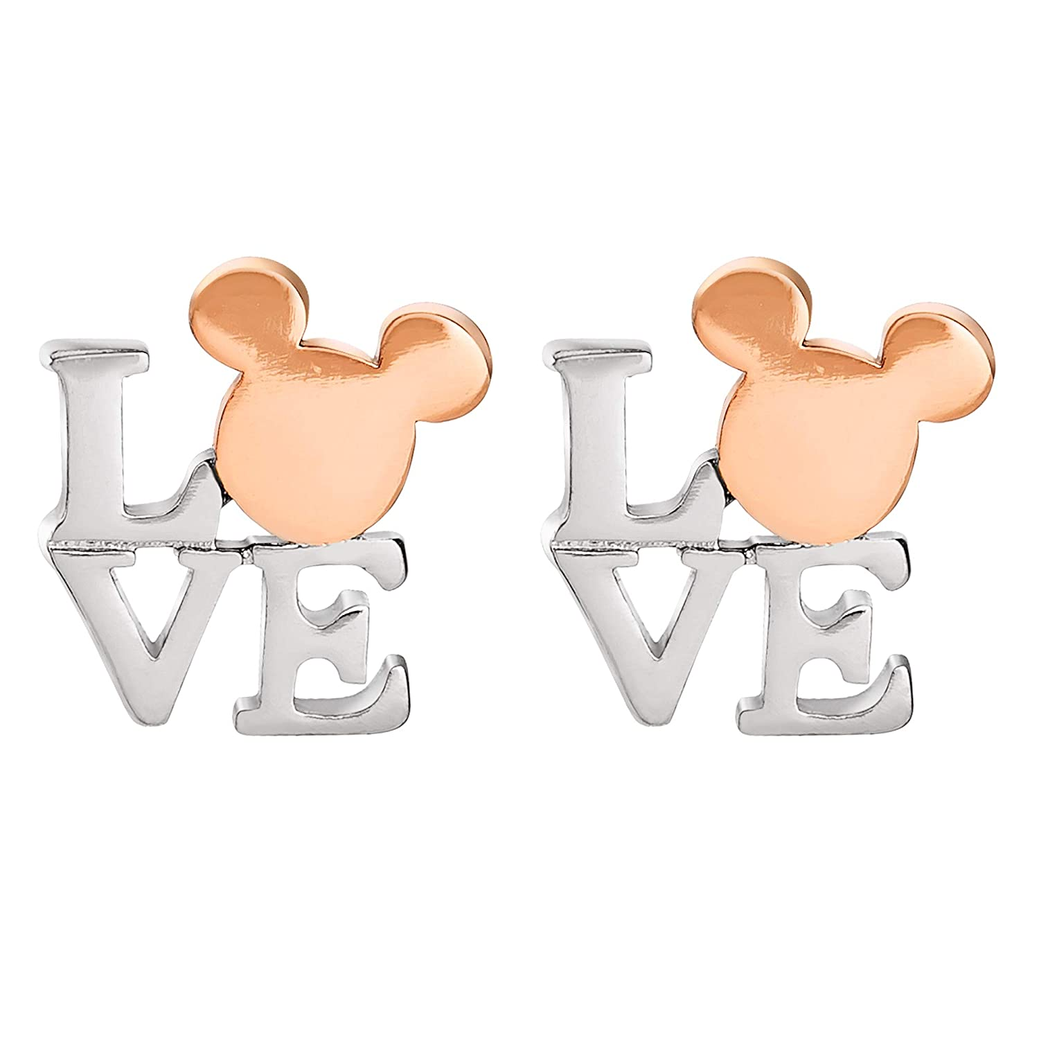 Two Tone Brass Mickey Mouse Love Stud Earrings Disney Mickey Mouse