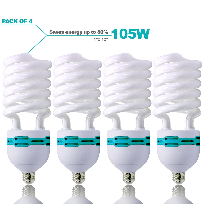 Julius Studio 4 Pack Full Spectrum Light Bulb 105 Watt 6500 Kelvin, Compact Fluorescent CFL Lighting Bulb for Photo Video Studio, Photography Studio, JSAG329