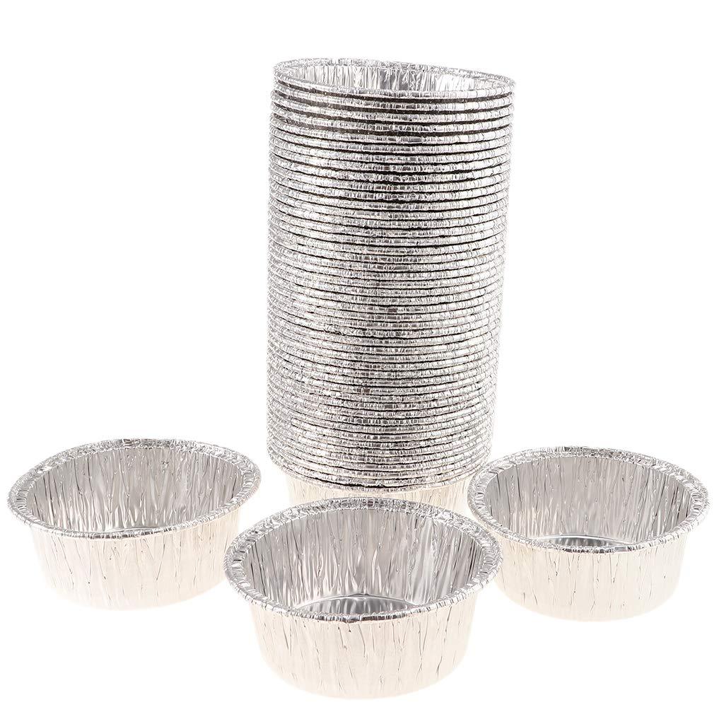Fityle 50Pcs Disposable Aluminum Foil Tart Pie Pans - Single, 10.5X4cm