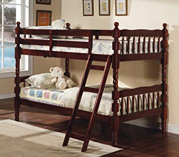 Amazon.com: Coaster Bunk Bed - Twin / Twin Size Bunk Bed with ...