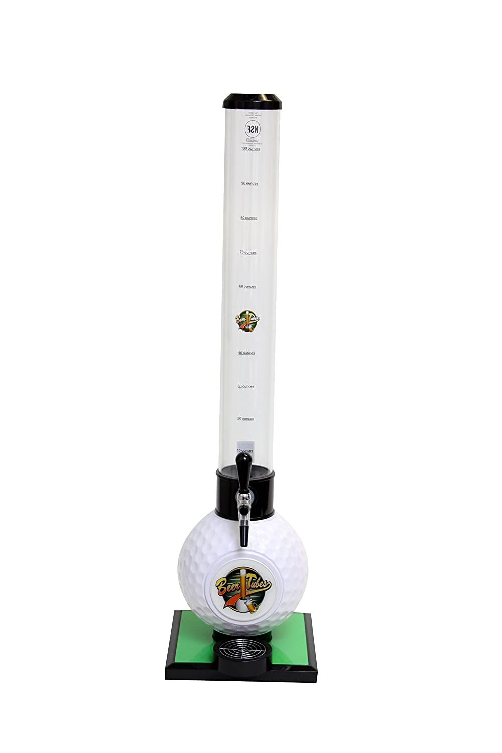 Beer Tubes Golf Ball Base Beverage Tower Dispenser with Commercial Tap, 100 oz. Tall Tube, White, GOL-32-C