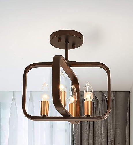 PAPAYA Mini Farmhouse Chandelier Vintage ORB Metal Ceiling Pendant Light Industrial Style Gold Lamp Cup Chandelier Hanging Fixture 4-Light