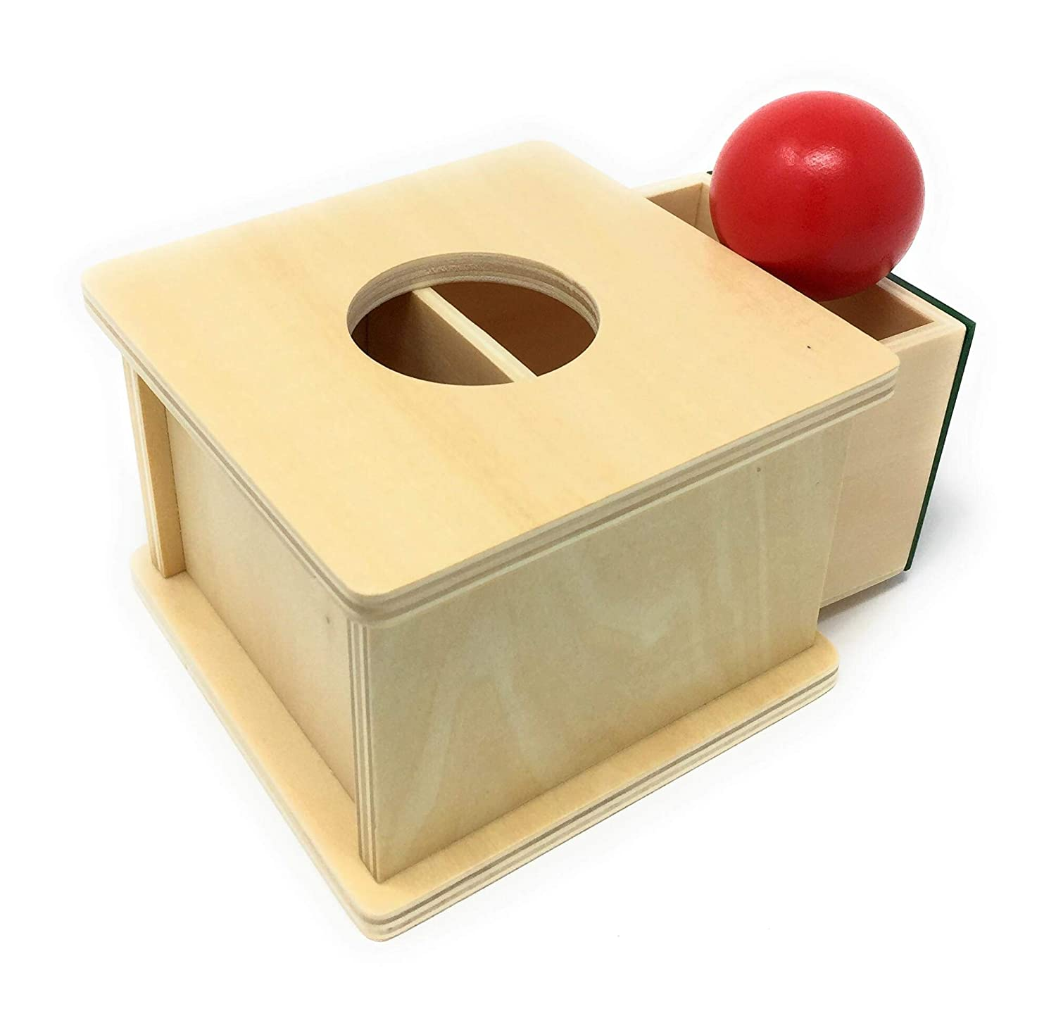 Ball Box Toy for Toddlers and Babies SI Montessori Toys for Baby 3 and 4 Year Olds Comes with 1 Red Ball Perfect for 2 Object Permanence Box for Infant