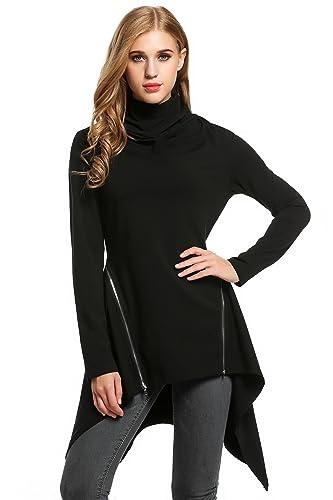 Meaneor Mujer Negra Cuello Alto Manga Larga Sólida Dobladillo Asimétrica Blusa
