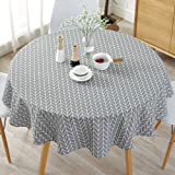 HINMAY Table Cloth, Round Stripe Cotton Line Table Cover Nordic Twill Floral Tablecloth Washable Dining Decorative for…