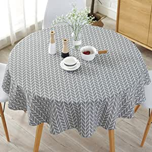 HINMAY Table Cloth, Round Stripe Cotton Line Table Cover Nordic Twill Floral Tablecloth Washable Dining Decorative for Holiday Home Christmas Party Picnic Gray