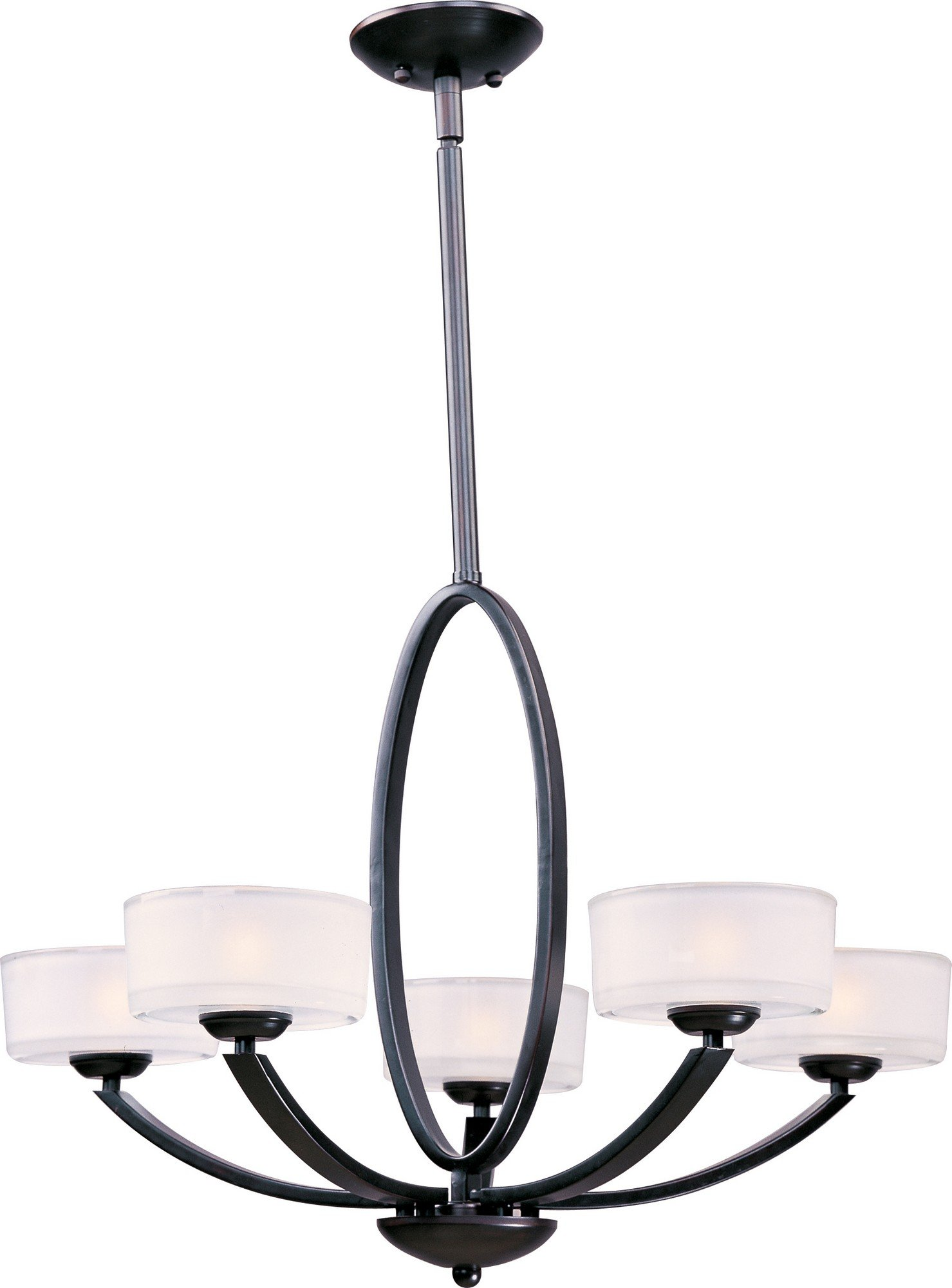 Maxim 19045FTOI Elle 5-Light Chandelier, Oil Rubbed Bronze Finish, Frosted Glass, G9 Frost Xenon Bulb , 13W Max., Wet Safety Rating, 2700K Color Temp, Glass Shade Material, 900 Rated Lumens
