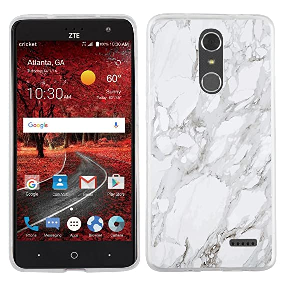 new style 05568 7919f ZTE Grand X4 case - [White Marble] (Crystal Clear) PaletteShield Soft  Flexible TPU gel skin phone cover (fit ZTE Grand X4/ X 4)
