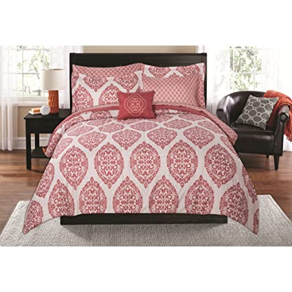 bb4896544d Amazon.com: Mainstays Damask Global Coral Bed in a Bag TWIN/XL: Home ...