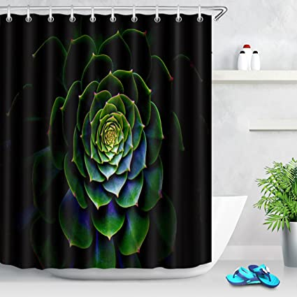 LB Tropical Cactus Plant Shower CurtainBlack Background Dark Green Curtain Bathroom Waterproof Mildew