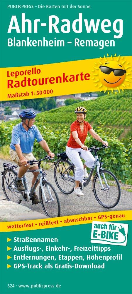 Ahr-Radweg, Blankenheim - Remagen: Leporello Radtourenkarte mit Ausflugszielen, Einkehr- und Freizeittipps, reissfest, wetterfest, beschriftbar, GPS-genau. 1:50000 (Leporello Radtourenkarte / LEP-RK) Landkarte – Folded Map, 1. August 2017 PUBLICPRESS 38992