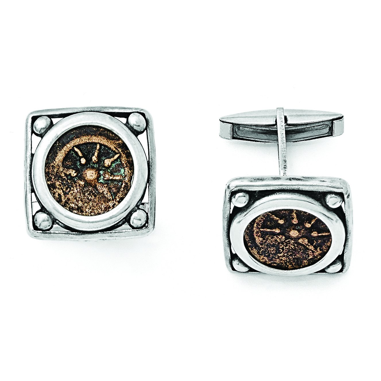 ICE CARATS 925 Sterling Silver Bronze Widows Mite Coin Cuff Links Mens Cufflinks Man Link Fine Jewelry Dad Mens Gift Set