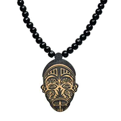 Amazon african tribal mask wooden pendant with wood bead african tribal mask wooden pendant with wood bead necklace swaggwood made in usa aloadofball Gallery