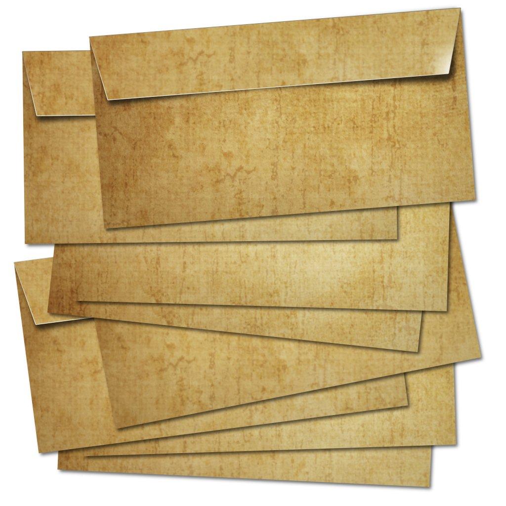 50 BUSTE POSTALI lunghe 100g/m² - adatte per A4/senza finestra/autoadesivo/colorato in design retrò vintage in marrone. Partycards