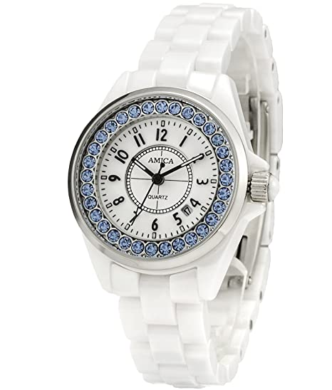 AMICA - Reloj de pulsera de cerámica para mujer, cuarzo, cristal rígido, diamante