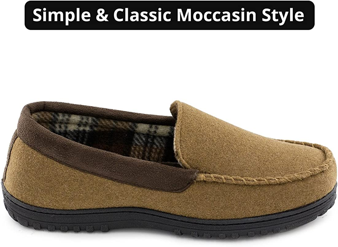 Indoor Outdoor Wool Micro Suede Shoes Mens Memory Foam Plush Fleece Lined Moccasin Slippers