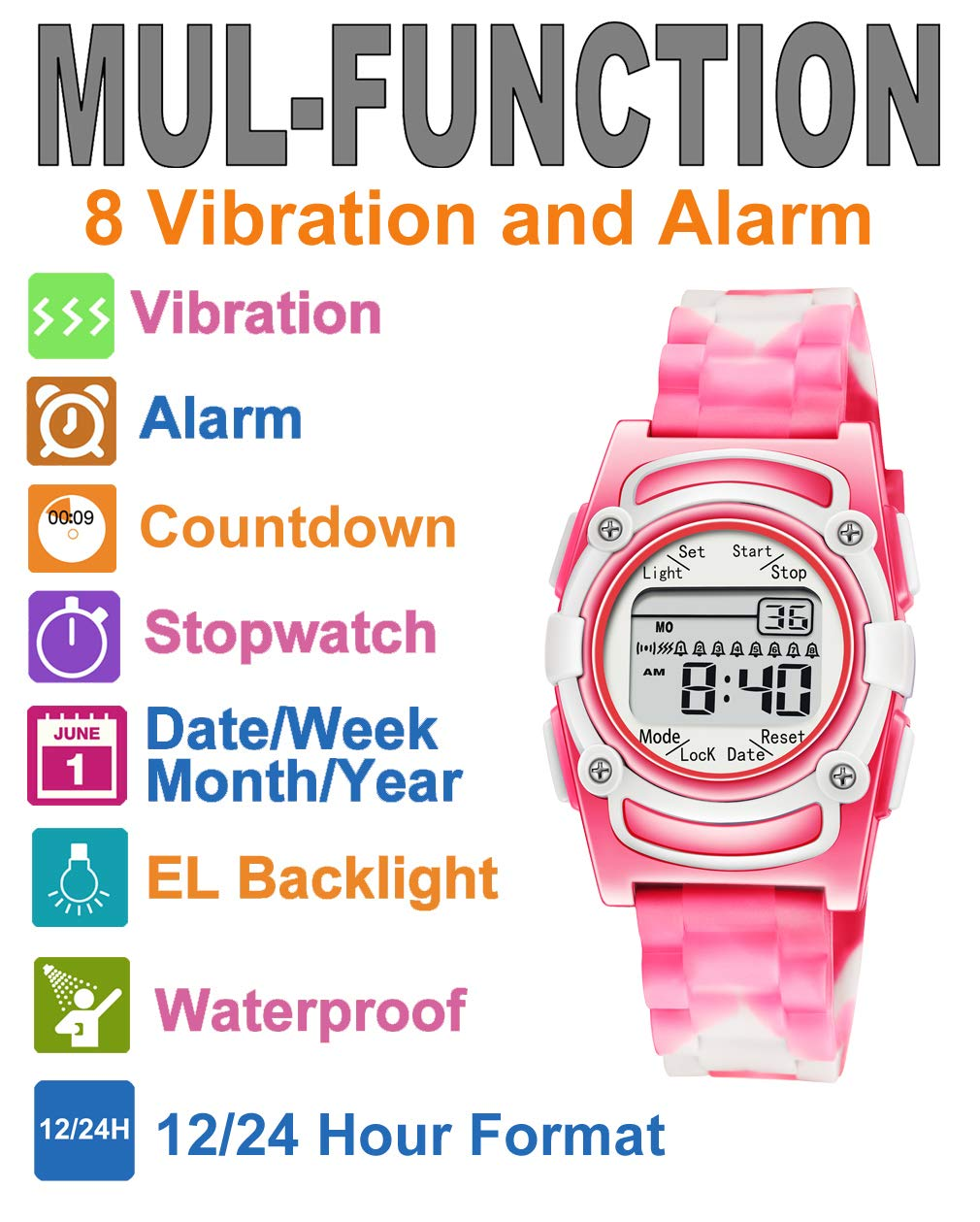 Kids Digital 8 Alarm Vibrating Watch Medication Reminder Potty Urinary Training Vibration Pill Alert Vibra Medical Reminder for Children (Pink White Camouflage) by T TICCI (Image #2)