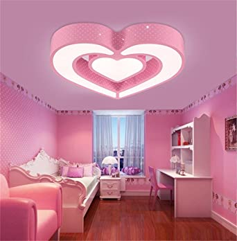 CHLIGHT 58Cm niños habitación rosa techo luces Creative acrílico corazón en forma de lámparas de techo