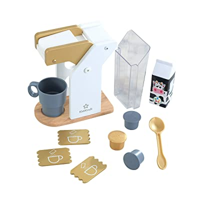 KidKraft 53538 Kids Play Kitchen Wooden Toy Coffee Set in Modern Metallic Colours, Play Kitchen Accessory: Toys & Games