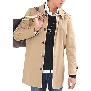 (スペイド) SPADE トレンチコート ステンカラーコート メンズ コート チェスターコート ロング 【e297】 (M, ベージュ)