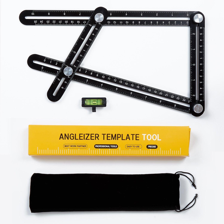 Brightown Multi Angle Measuring Ruler Universal Angularizer Ruler - Full Metal Aluminum Alloy Multi Function Ruler with Extra Line Level Great For Handymen, Builders, Carpenters,Tilers,DIY-ers (Black)