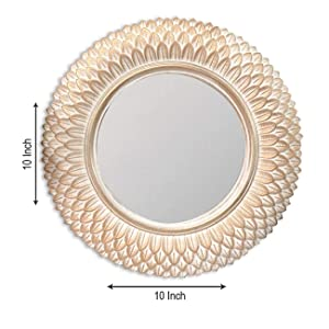 Painting Mantra Decorative Round Wall Mirror for Living Room (10 x 10 Inchs, Copper) - Set of 3