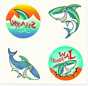 Fun Express Shark Tattoos (6 Dozen) Party Favors, Apparel Accessories, Temporary Tattoos