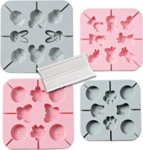 Candy Molds for Lollipop 4 x 8-Cavities Silicone Lollipop Molds Chocolate Hard Candy Mold Round Butterfly Flower Peppa Pig Easter Bunny & Egg for Kids Baking Birthday Party, with Lollipop Sticks