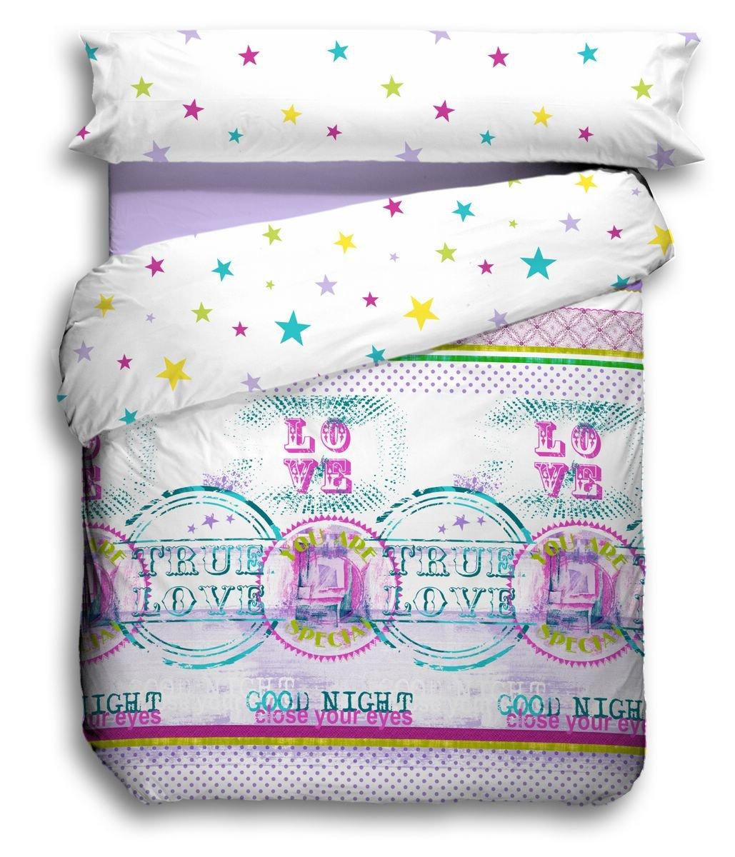 150 x 220 cm Violet QUILT /& CO Love Parure Housse de Couette Para cama de 90 cm