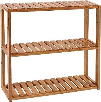 SONGMICS Estantería de Bambú para Baño, Librería, Organizador, Estantería de Almacanamiento de Pared, 60 x 15 x 54 cm BCB13Y: Amazon.es: Hogar