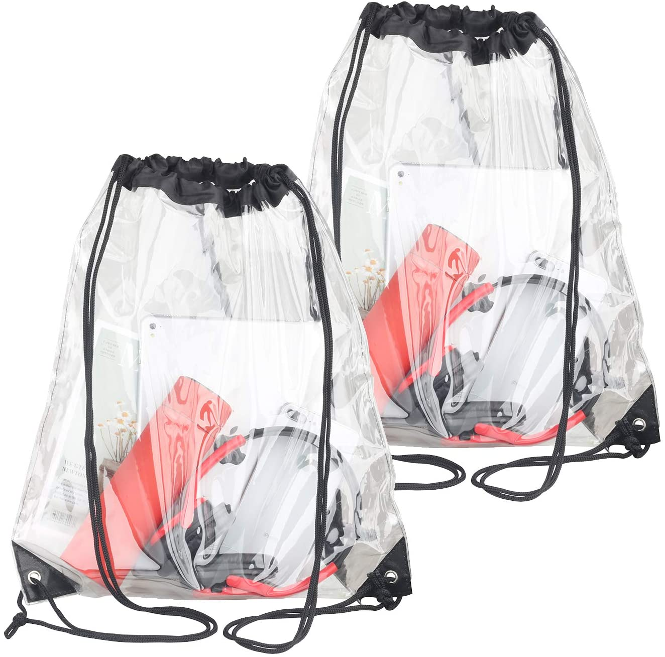 2 Pieces Clear Drawstring Bags, Waterproof Small Clear Bag for Stadium Colleges Sport Event Work Concert Security Approved