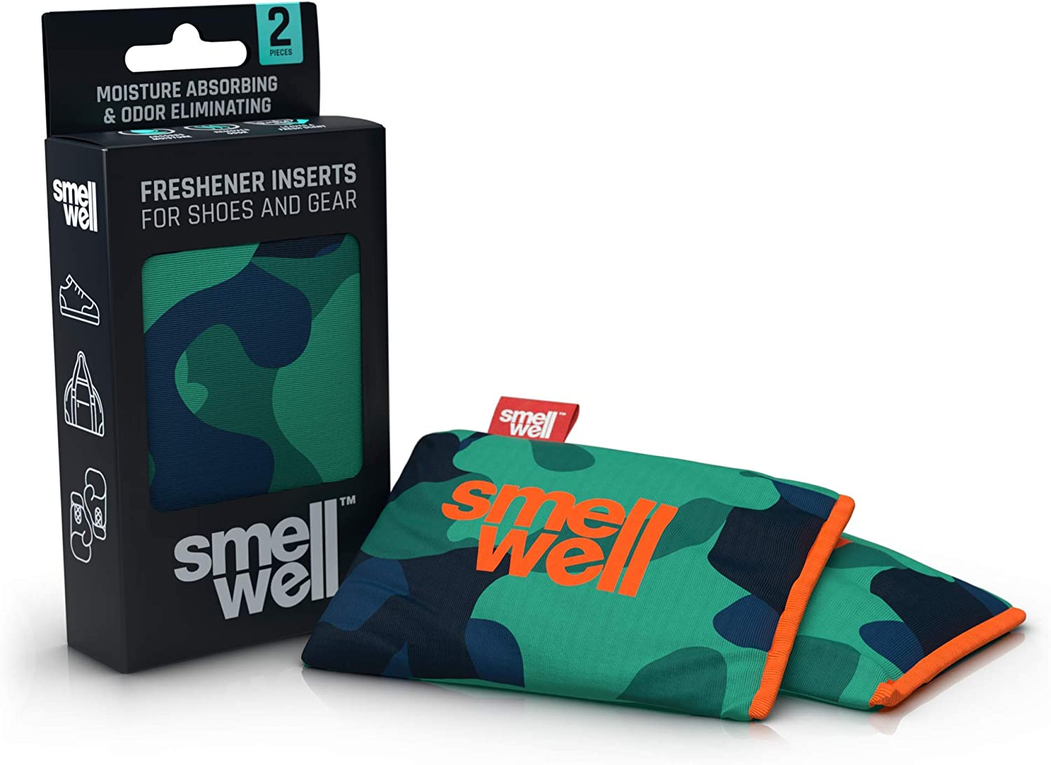 SmellWell Odor Eliminator + Shoe Deodorizer (2 Pack, 100g) Activated Bamboo Charcoal + Minerals - Air Purifying Bags - Natural Freshener Inserts for Shoes, Bags, Gloves and More