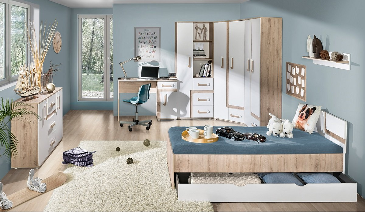 jugendzimmer kinderzimmer alex 8 tlg komplett set f farbauswahl fronten wei eckschrank. Black Bedroom Furniture Sets. Home Design Ideas