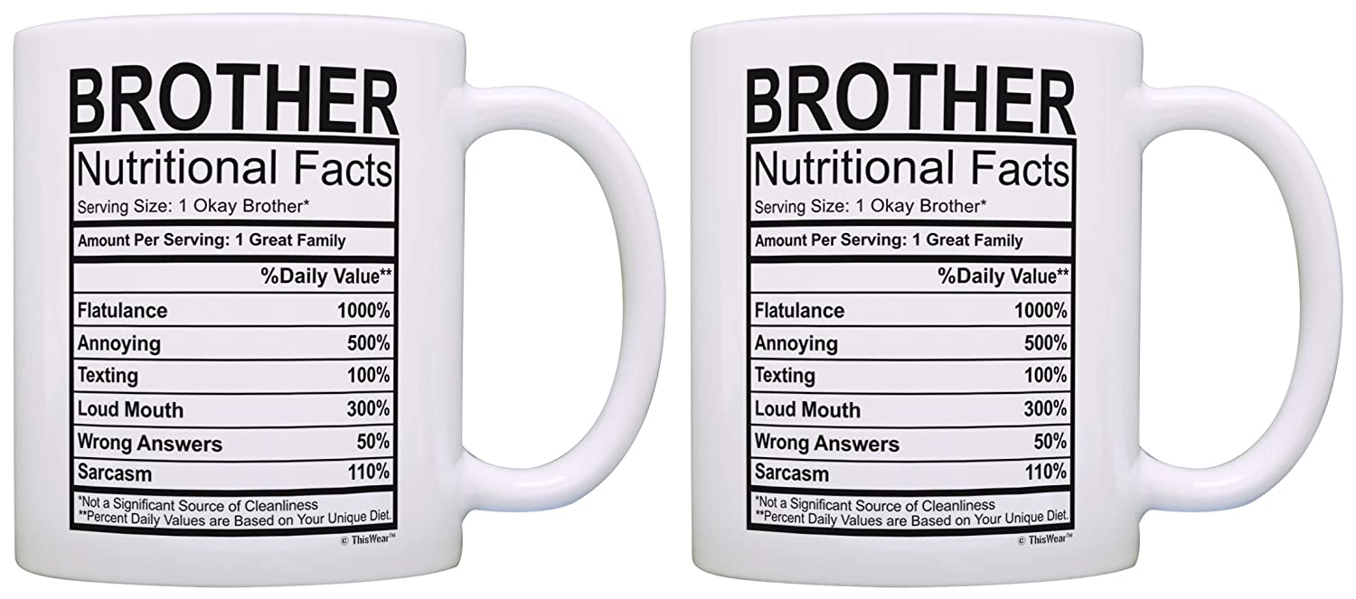 Amazon Birthday Gifts For Brother Nutritional Facts Label Gift Ideas 2 Pack Coffee Mugs Tea Cups White Kitchen Dining
