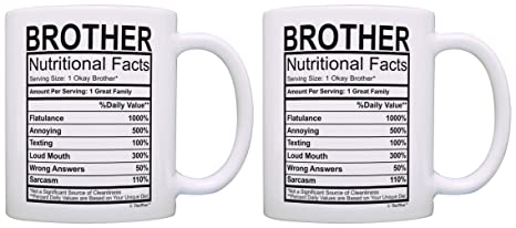 birthday gifts for brother nutritional facts label gift ideas for brother 2 pack gift coffee mugs