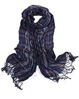 Leonal Men Striped Scarf Cotton Fabric Plaid Scarves