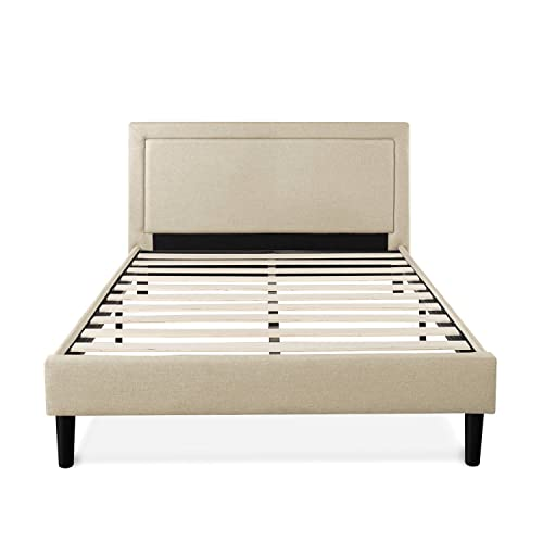Zinus Mckenzie Upholstered Detailed Platform Bed Mattress Foundation Easy Assembly Strong Wood Slat Supports, Queen