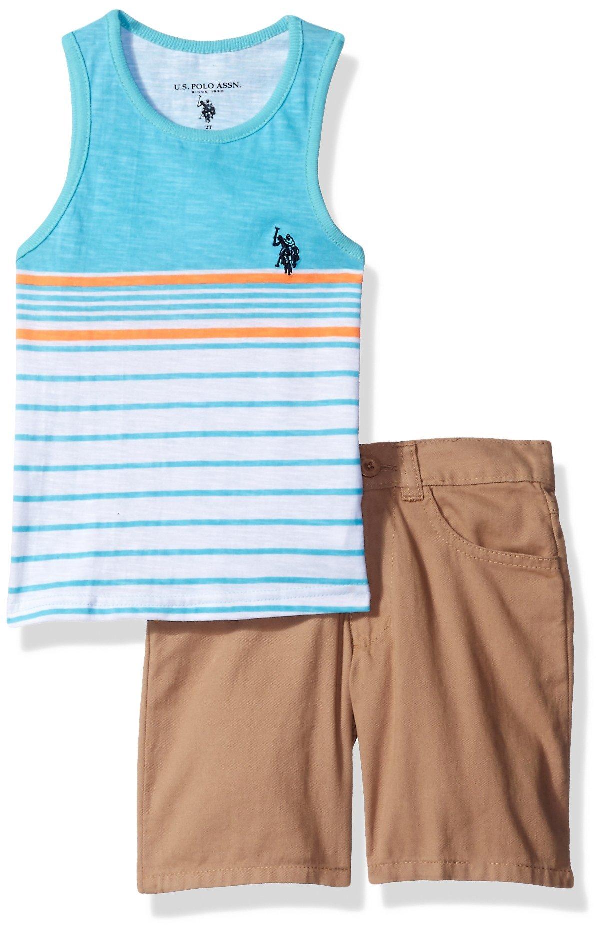U.S. Polo Assn. Boys' Striped Tank Top and Four Pocket Twill Short Set, WL00-Gamma Blue, 6
