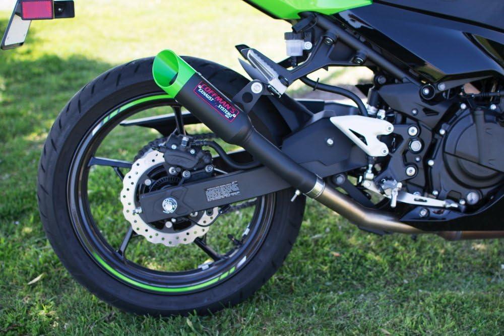 Coffmans Shorty Slip-On Exhaust for Kawasaki Ninja 400 Z400 2018-2019 Sportbike with Green Tip