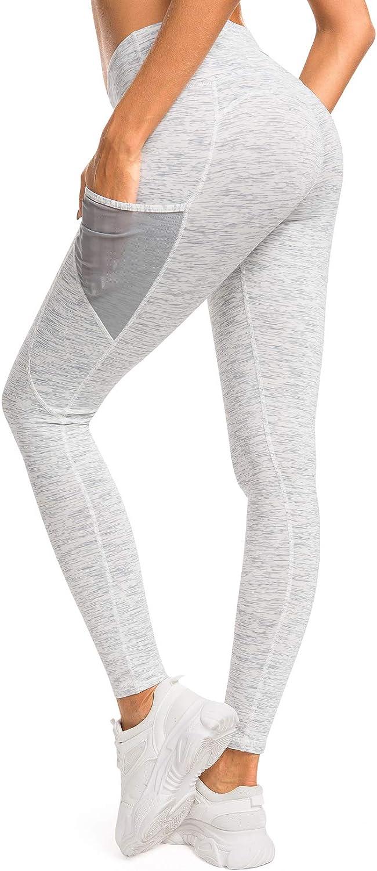 QUEENIEKE Leggings de Yoga /à Taille Haute Mailles Power Flex Collants de Gym Course avec 3 Poches de t/él/éphone pour Femmes