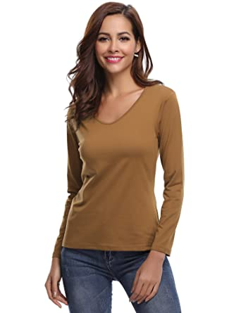 71c7ecf29 Aibrou Womens Long Sleeve T Shirts Cotton Casual Basic Solid Color V Neck  Tee Shirt Brown