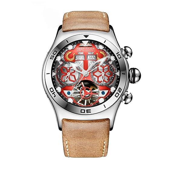 Reef Tiger para hombre único Tourbillon Reloj con Año Mes Día y Fecha Esqueleto Dial rga703