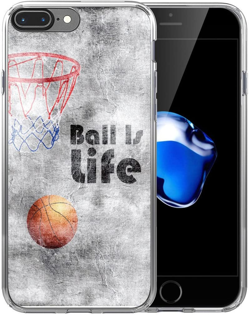 IWONE 8 Plus Case/7 Plus Case Designer Non Slip Rubber Durable Protective Skin Transparent Cover Compatible with iPhone 7/8 Plus + Creative Pattern Basketball Writings Sports