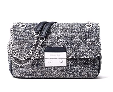 e05bff35d803 Michael Kors Women's Sloan Boucle Tweed Quilted Shoulder Bag Admial Navy  Large