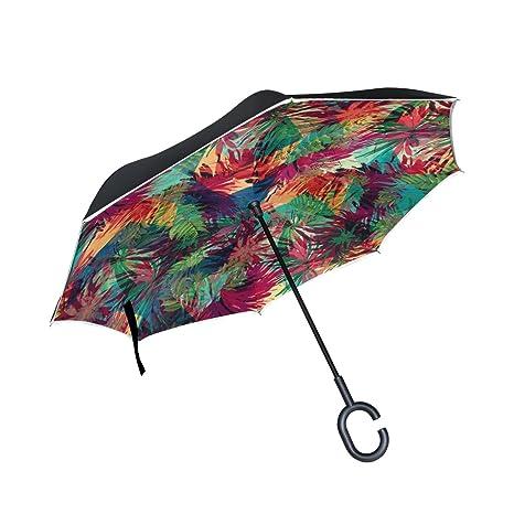 COOSUN Colorido hojas patrón de doble capa del paraguas invertido inversa para el coche y el
