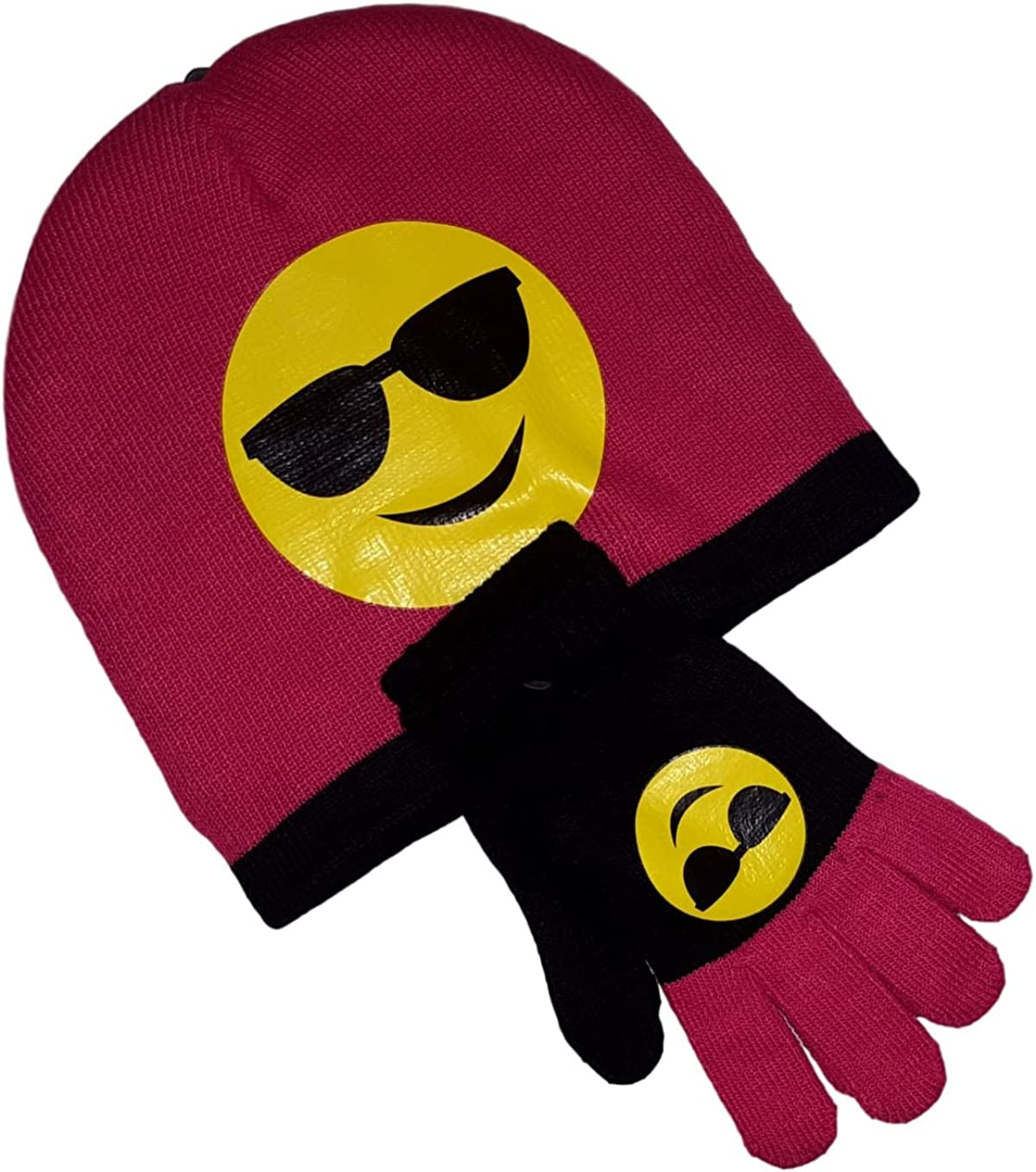 Royal Deluxe Emoji Knit Hat and Glove Set with Icon Smiley Faces